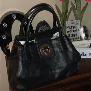 Kate Spade turn lock black leather hobo bag